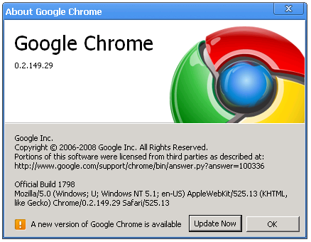 Google Chrome Update 1.1 Released – Download Chrome
